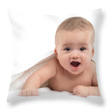 Four Month Old Baby Boy Throw Pillow by Oleksiy Maksymenko