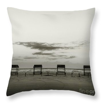 Four On The Beach Throw Pillow
