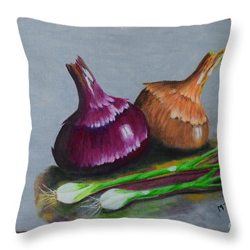 Throw Pillow featuring the painting Four Onions by Melvin Turner