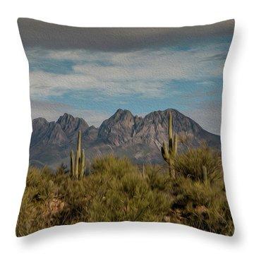 Four Peaks Painterly Throw Pillow