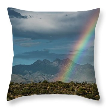 Throw Pillow featuring the photograph Four Peaks Rainbow  by Saija Lehtonen