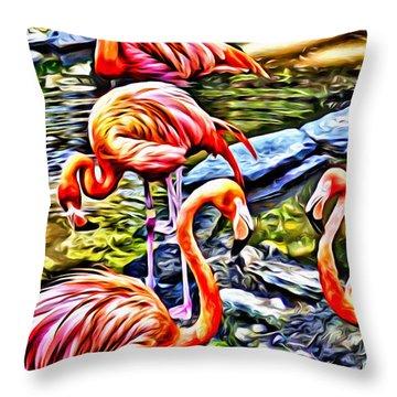Four Pink Flamingos Throw Pillow