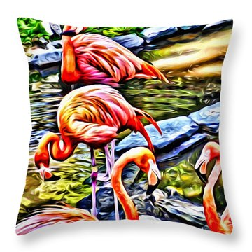 Throw Pillow featuring the painting Four Pink Flamingos by Joan Reese