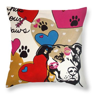 Four Pitty Paws Throw Pillow