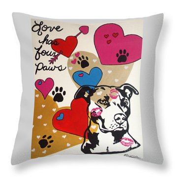 Throw Pillow featuring the painting Four Pitty Paws by Melissa Goodrich