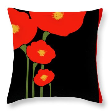 Four Red Flowers On Black Throw Pillow