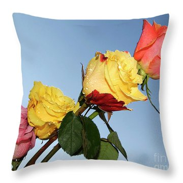 Throw Pillow featuring the photograph Four Roses by Elvira Ladocki