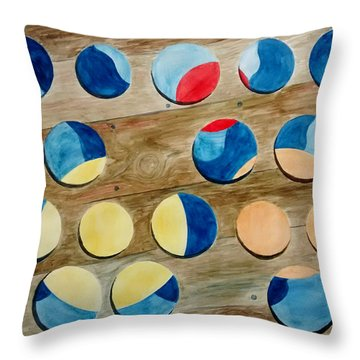 Throw Pillow featuring the painting Four Rows Of Circles On Wood by Andrew Gillette