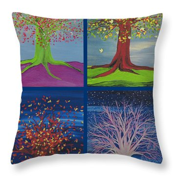 Four Seasons Trees By Jrr Throw Pillow
