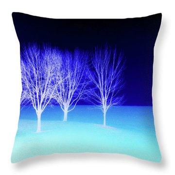 Four Trees In Snow Throw Pillow