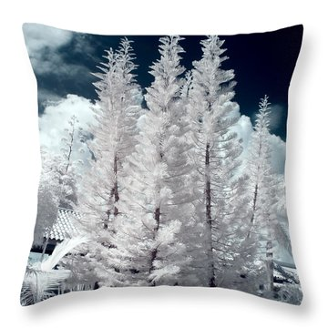 Four Tropical Pines Infrared Throw Pillow by Adam Romanowicz