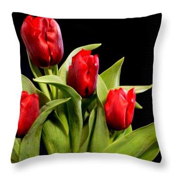 Four Tulips Throw Pillow