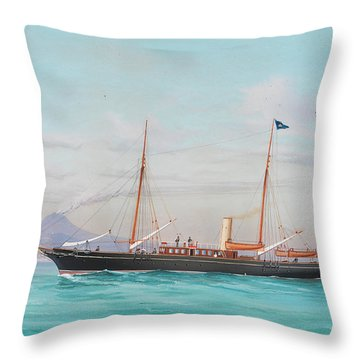 Four Views Of The Steam Yacht Yatra Throw Pillow