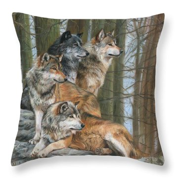 Four Wolves Throw Pillow by David Stribbling