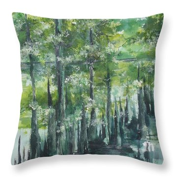 Fourche Creek Study Of Cyprus Trees 3 Throw Pillow by Robin Miller-Bookhout