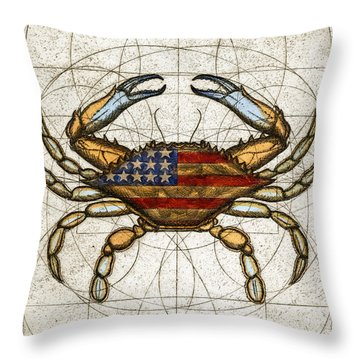 Throw Pillow featuring the painting Fourth Of July Crab by Charles Harden