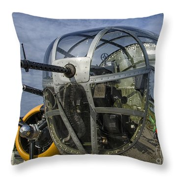 Foward Gunner B-25 Throw Pillow