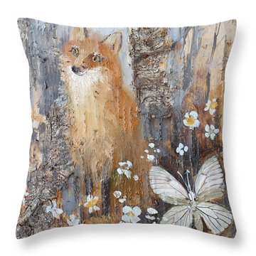 Fox And Butterfly Throw Pillow
