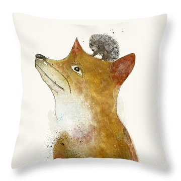 Throw Pillow featuring the painting Fox And Hedgehog by Bri B