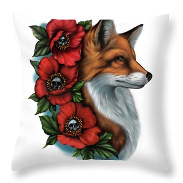 Fox And Poppies Throw Pillow
