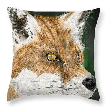Throw Pillow featuring the digital art Fox by Darren Cannell