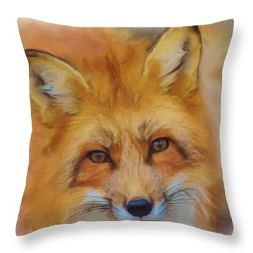 Fox Face Taken From Watercolour Painting Throw Pillow
