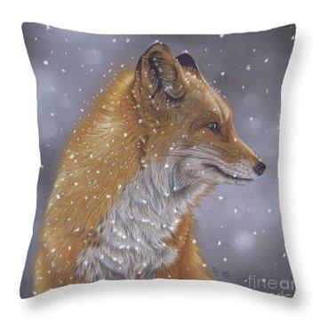 Fox In A Flurry Throw Pillow