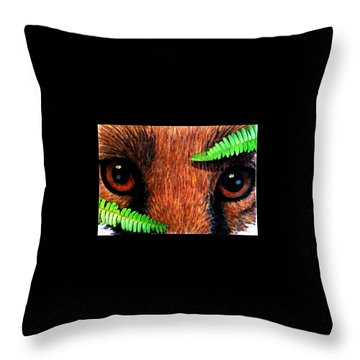 Fox In Hiding Throw Pillow by Angela Davies