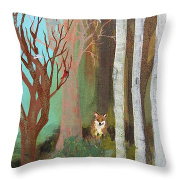 Fox In The Forest  Throw Pillow