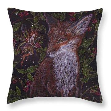 Fox In The Raspberries Throw Pillow