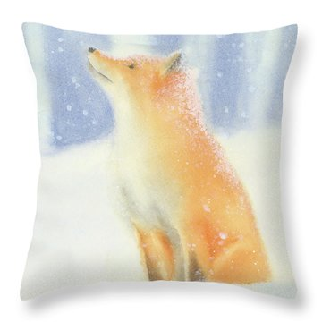 Throw Pillow featuring the painting Fox In The Snow by Taylan Apukovska