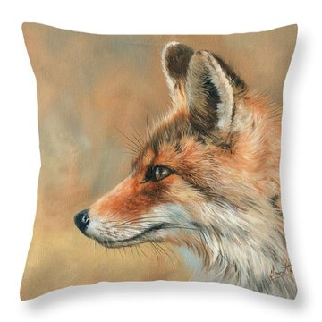 Fox Portrait Throw Pillow by David Stribbling