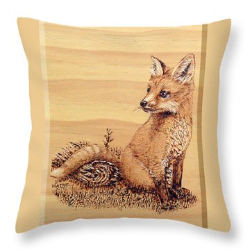 Fox Pup Throw Pillow by Ron Haist