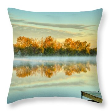 Fox River Above Mchenry Dam At Sunrise Throw Pillow