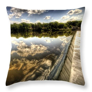 Fox River At The Geneva Dam Throw Pillow