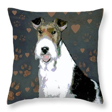 Fox Terrier Wire Throw Pillow by One Rude Dawg Orcutt