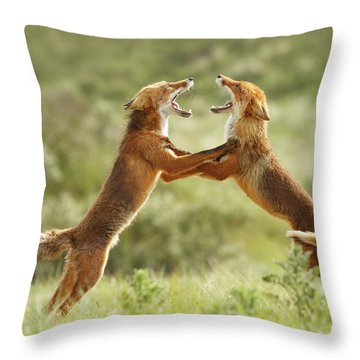 Fox Trot - Red Foxes Fighting Throw Pillow