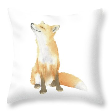 Throw Pillow featuring the painting Fox Watercolor by Taylan Apukovska