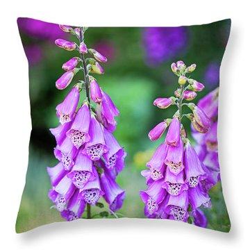 Foxglove Blooms Throw Pillow