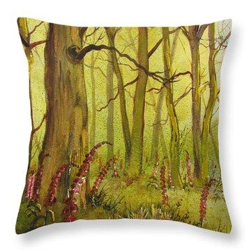Foxgloves In Fairy Call Beck Throw Pillow