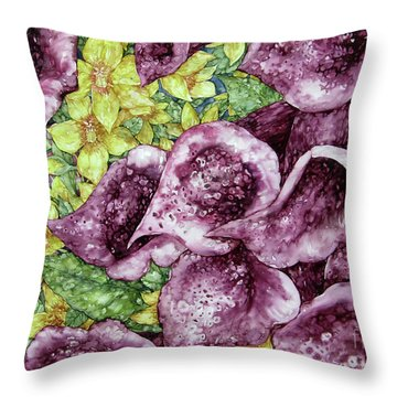 Foxgloves Throw Pillow by Kim Tran