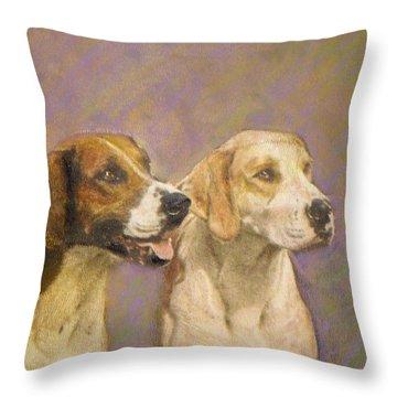 Foxhound Pals Throw Pillow by Richard James Digance