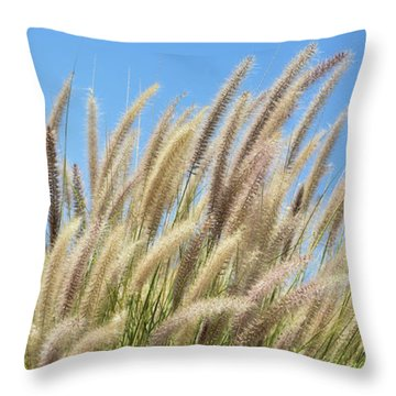 Foxtails On A Hill Throw Pillow