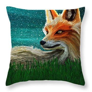 Throw Pillow featuring the digital art Foxxy by Iowan Stone-Flowers