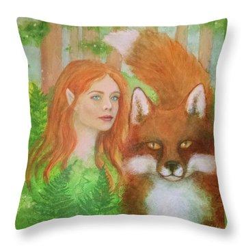 Foxy Faery Throw Pillow