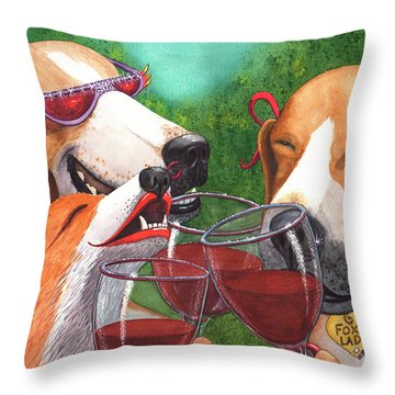 Foxy Winers Throw Pillow