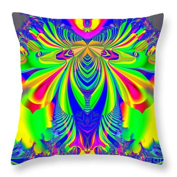 Fractal 31 Psychedelic Love Explosion Throw Pillow