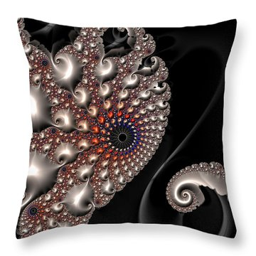 Throw Pillow featuring the digital art Fractal Contact - Silver Copper Black by Matthias Hauser
