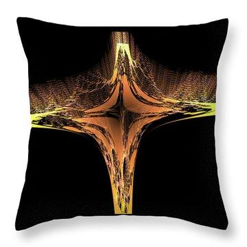 Throw Pillow featuring the digital art Fractal Cross Golden And Yellow by Matthias Hauser
