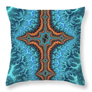 Throw Pillow featuring the digital art Fractal Cross Turquoise And Orange by Matthias Hauser